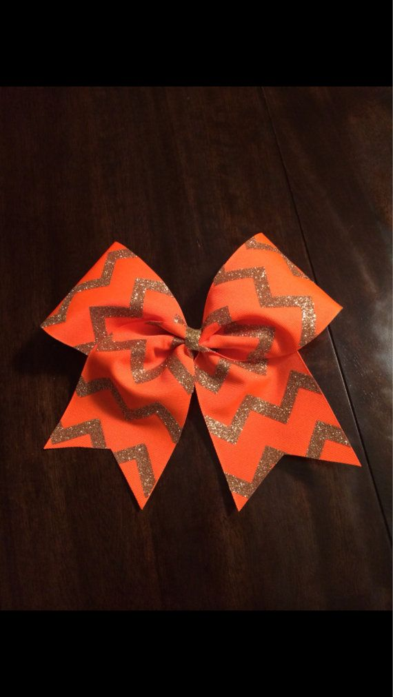 3 inch cheerleader cheer bow neon orange & sparkly by 2girls2Tus