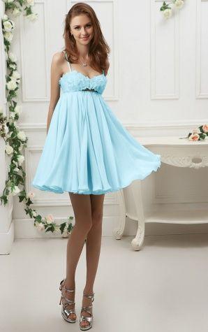 Short One Shoulder Blue Smart A-line Dress