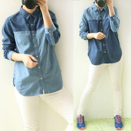 2014春 日本原单袖子可卷牛仔长袖拼接衬衣衬衫 女
