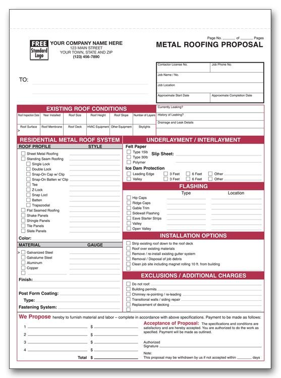 Invoices Form Sheet For Roofing Roofing Forms Projects