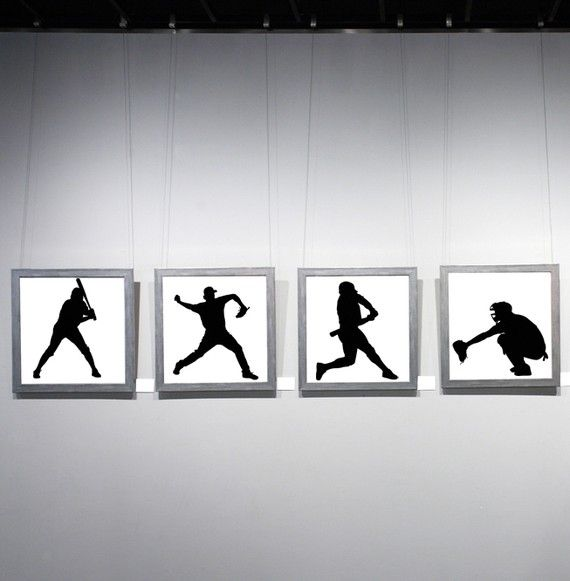 Set of 4 Baseball Players  Vinyl Wall Art by VinylWallAccents, $38.00