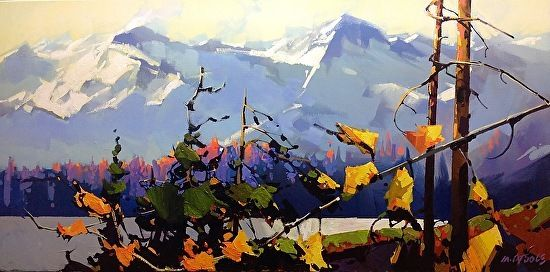 "HOWE SOUND ,GOLDEN DUSK by Michael O'Toole Acrylic ~ 18"" x 36"""