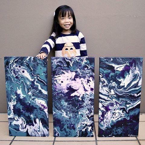 Cassie the 4 year old flow artist! @cassieswirls #flowart #pouringmedium #kidsart