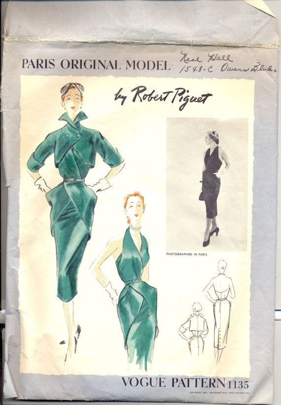 Vintage 1950s Womens Dress Pattern, Vogue 1135 Sewing Pattern, Size 14, Vogue Paris Original Model by Robert Piguet. Pattern is used and