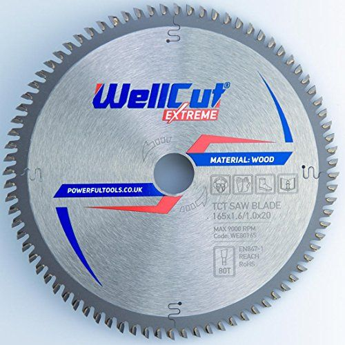 WELLCUT EXPERT lame de scie circulaire 165 x 20 mm x 80T dents alésage et convient pour Festool, BOSCH, Metabo, DeWalt etc..: Diamètre :…