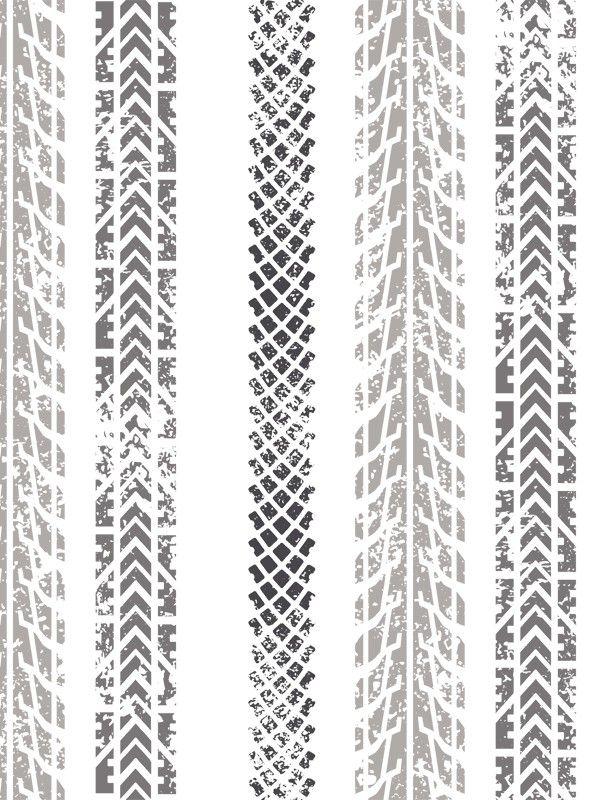 Papier peint duplex à motif Traces de pneus : Rayures drive. Collection Only Boys par Caselio. L. 0,53 x H. 10,05 m