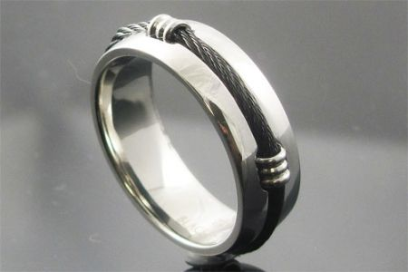 Mens stainless steel ring with black cable
