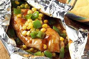 Grilled Barbequed Chicken Foil Packets