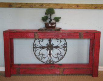 Rustic Sofa Table in Farmhouse Aqua by DougAndCristyDesigns