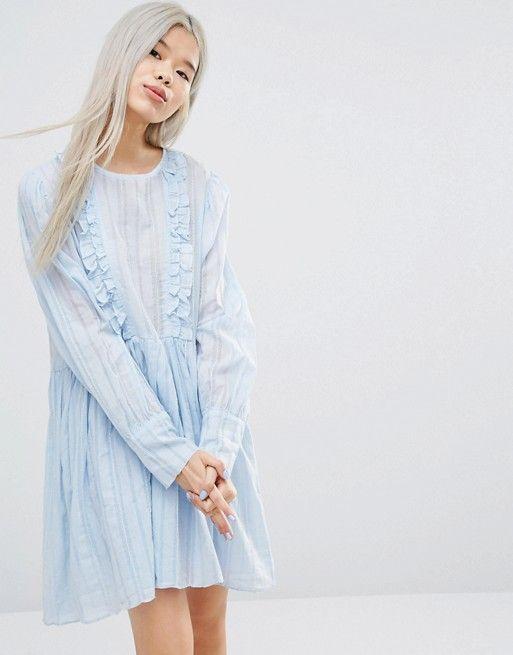STYLE NANDA | STYLENANDA Long Sleeve Smock Dress With Woven Stripe And Ruffle Details
