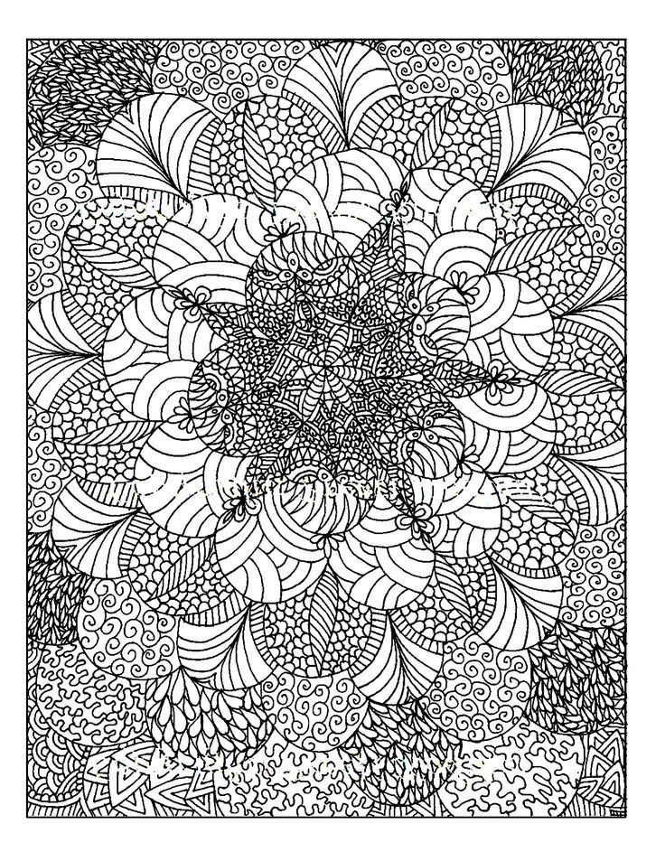 Free Coloring Page Anti Stress To Print Many Details Color In This