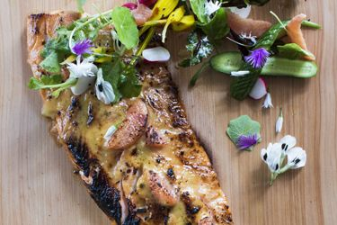 Roast side of salmon with ruby grapefruit miso and spring salad