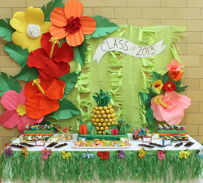 "luau dessert table with ""pineapple"" cake pop centerpiece"