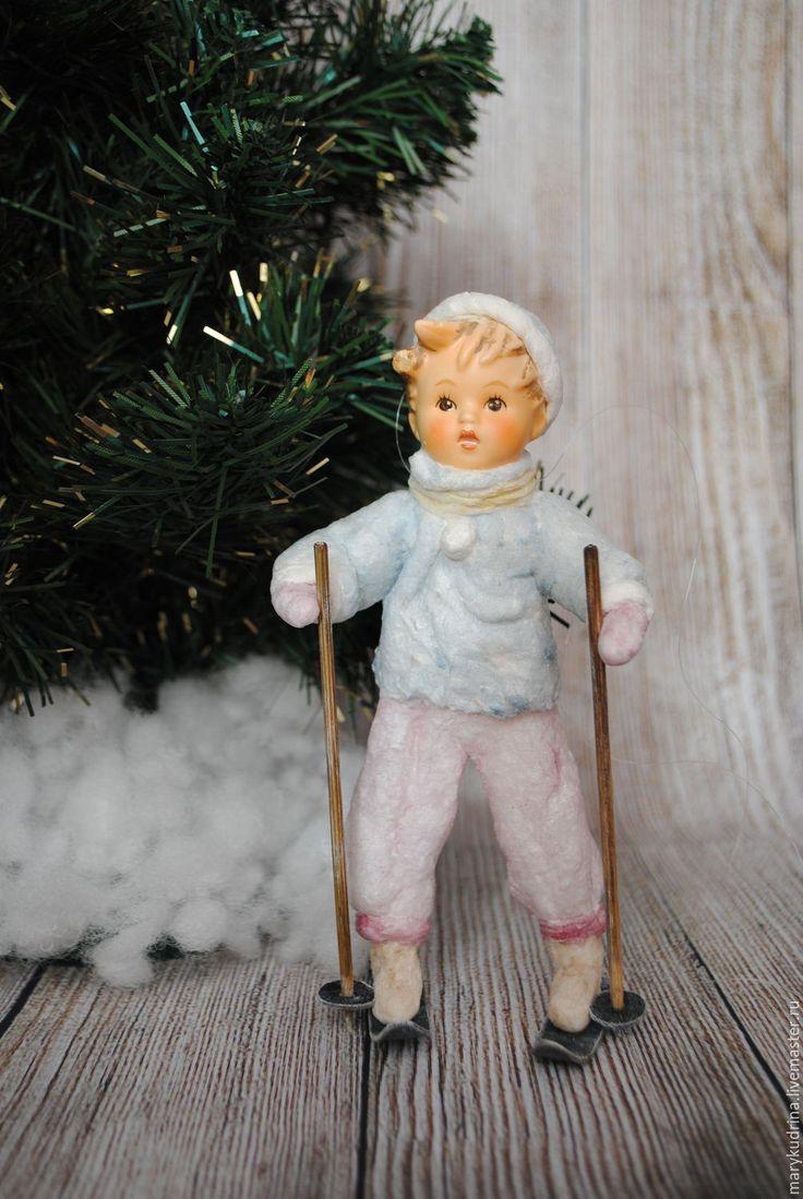 Купить Ватные елочные игрушки. Лыжник. - комбинированный, ватные игрушки, ватные елочные игрушки