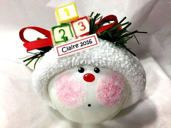 Ornements de Noël de BÉBÉ 1 2 3 blocs personnalisés nom Tag Option Townsend cadeaux personnalisés - F