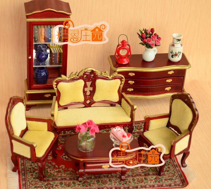 1/12 escala de madeira vitoriano sala 6 peças set dollhouse móveis em miniatura(China (Mainland))