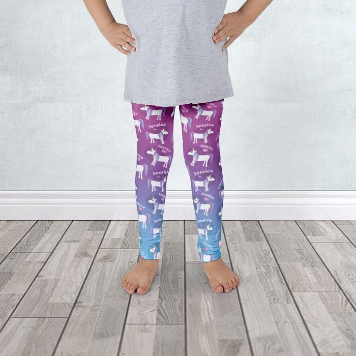 I wanted to share with you this Happy Unicorn Colors Pattern Personalized Kid's Leggings - 1 to 7 years old? Do you like it?  | These unicorn leggings are designed with pattern of a happy white unicorn with a pink, purple, and blue mane, a heart nearby, and personalized with her name in white rounded around the unicorn. Sizes are available from 2T to 6X accommodating children from 1 to 7 years of age.  #unicorn #kids #leggings