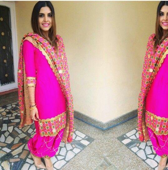 Pink Punjabi Suit - Get it at nivetas Design Studio for query kindly whatsapp +917696747289 visit https://www.facebook.com/punjabisboutique