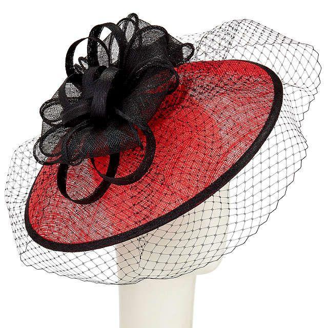 BuyJohn Lewis Anne Disc Veil Occasion Hat, Black/Red Online at johnlewis.com