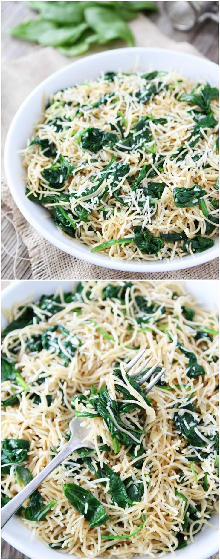 5-Ingredient Spinach Parmesan Pasta Recipe on http://twopeasandtheirpod.com Love this quick and easy pasta dish!