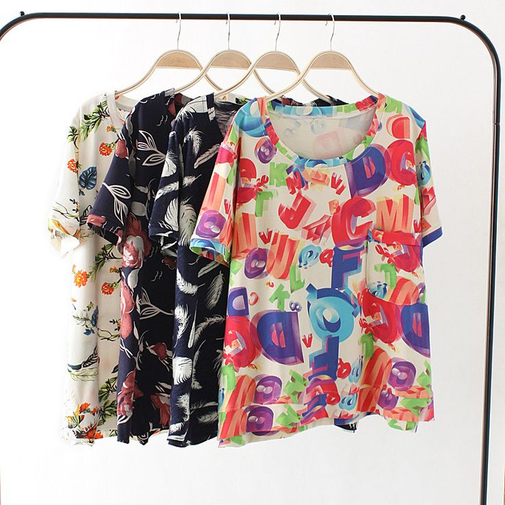 women summer T-shirts  2015 woman floral printed cotton plus size T shirts fashion european casual vintage pink big tshirts 18