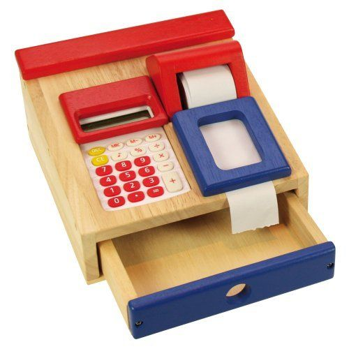 Toy Cash Register : Santoys wooden toys food shop role play cash