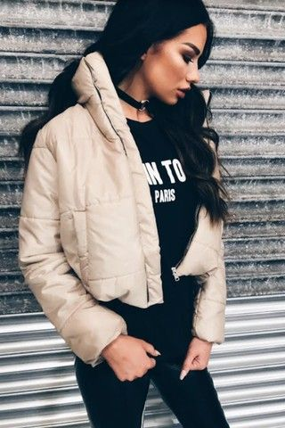 Ruby Stone Cropped Puffer Jacket