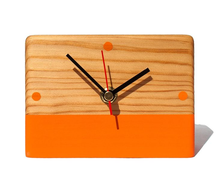 Orange clock, reclaimed wood clock, hand painted wood desk clock, Handmade modern clock, eco friendly gift, unique gift for her, Table Decor by StudioKowal on Etsy https://www.etsy.com/listing/474764445/orange-clock-reclaimed-wood-clock-hand