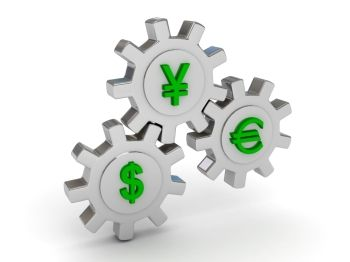 Gears with dollar yen and euro signs 3d render