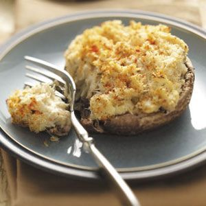 Crab Cake-Stuffed Portobellos. Maybe use low fat cream cheese to lower the calories.