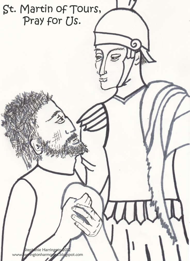 Harrington Harmonies: St. Martin of Tours  Free Color Page depicts St. Martin and the Beggar