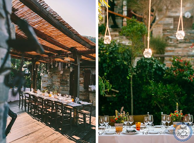 Rustic wedding table setting | Wedding by Stella and Moscha - Exclusive Greek Island Weddings | Photo by George Pahountis