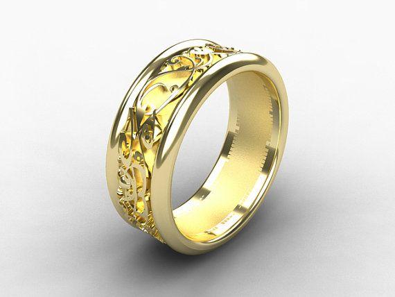 Yellow gold wedding band wide ring filigree by TorkkeliJewellery, 2,450.00