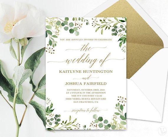 Greenery Wedding Invitation Template Green And Gold Creative Wedding Invitations Cheap Wedding Invitations Gold Wedding Invitations