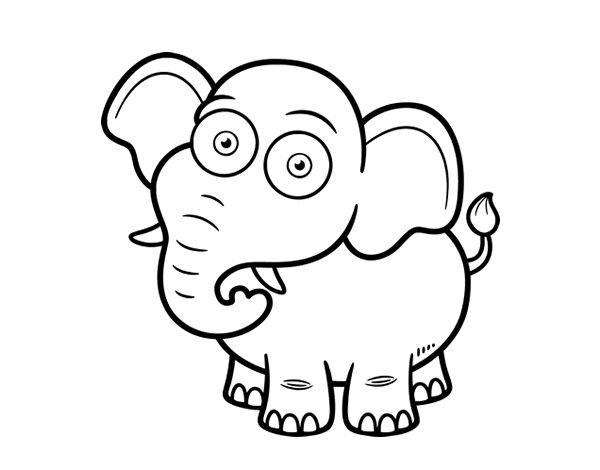 Dibujo de Elefante africano de sabana para colorear