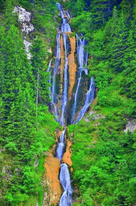 Horses waterfall, Borsa, Maramures county, Romania.