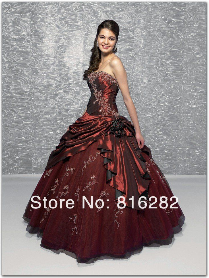 Romantic Strapless Applique Ball Gown Floor Length Pleat Organza  Prom Gowns Quinceanera Dresses & Fashion Dresses