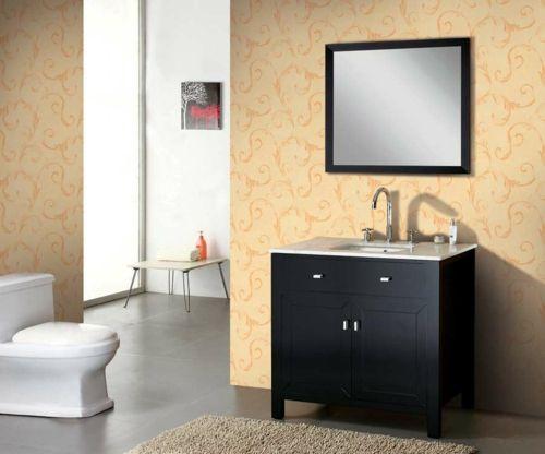 33 dunkle Badezimmer Design Ideen - bad einrichtung schwarz weiß kontrast hellgelbe wände modern bathroom minimalistic look