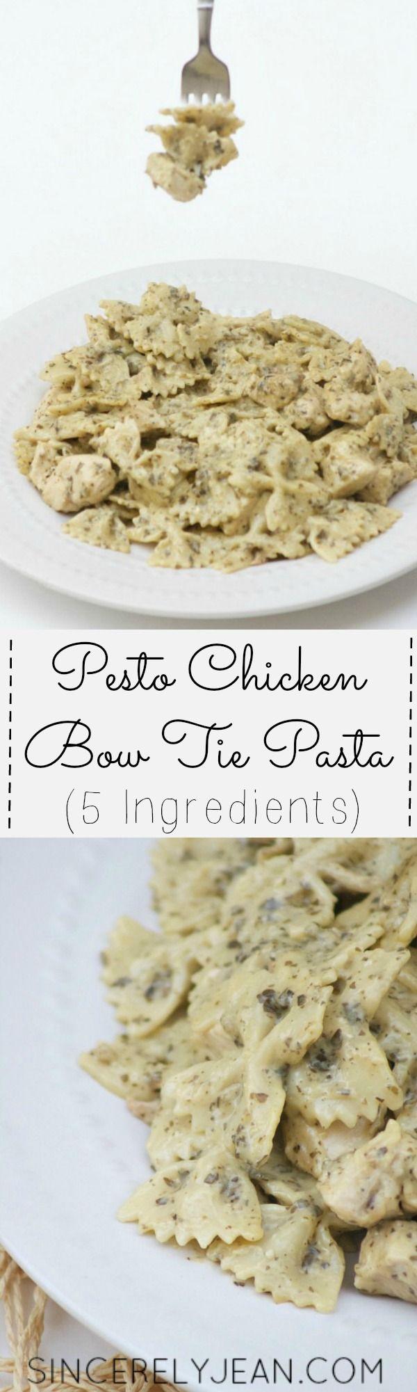 5 Ingredient Pesto Chicken Bow Tie Pasta - easy and quick dinner recipe! | www.sincerelyjean.com