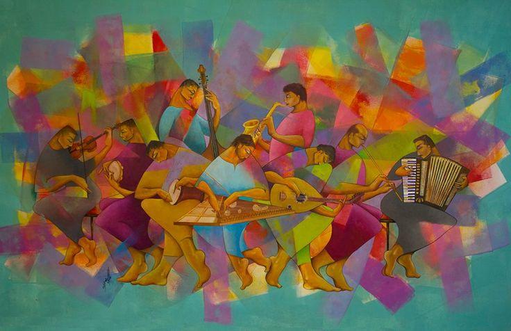 The Band الفرقة الموسيقية Oil on canvas 115x185 cm 2017 Artist Firas Albasry