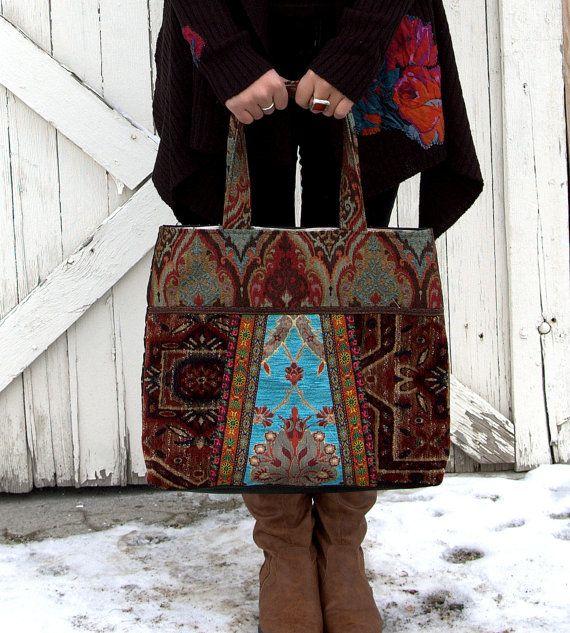 Vintage tapestry carpet bag