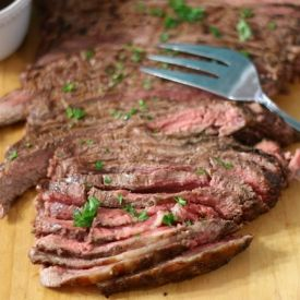 Flank Steak With Spicy Chimichurri Sauce [JenatPBandP] eat365.com.au