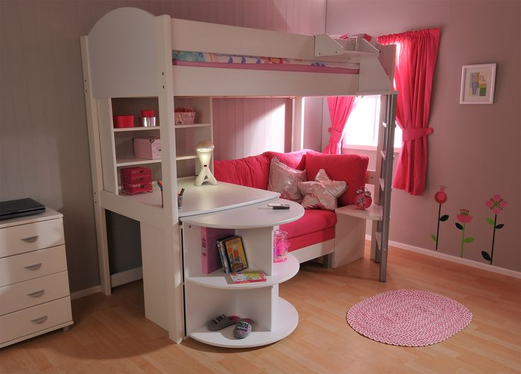 Girls' Casa 4 High Sleeper -   The ultimate girl's sleep, study and storage combination high sleeper.