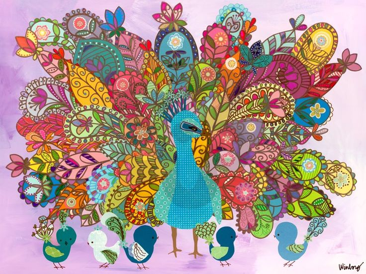 """""""Peacock Birdies"""" Canvas Wall Art from Oopsy Daisy, Fine Art for Kids. Size 24''x18'' for $119. Multiple sizes and additional framing options available. Browse our collection of wall art for kids!"""