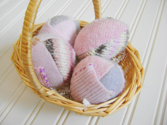 Pink Treat Pocket Wool Eggs set of four by artisaninthewoods.etsy.com, 20.00
