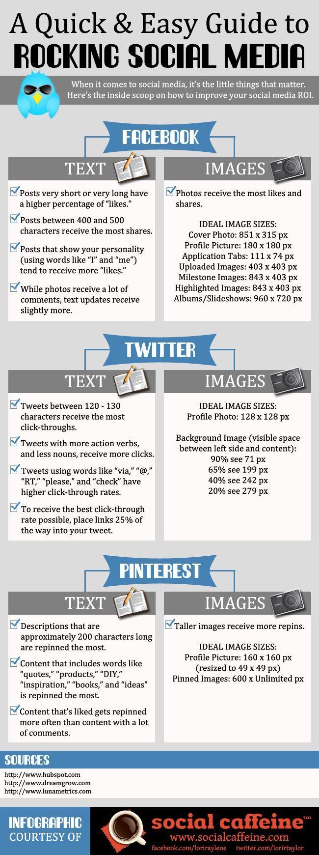 Consejos para mejorar tu presencia en Twitter, Facebook y Pinterest. #infiografía