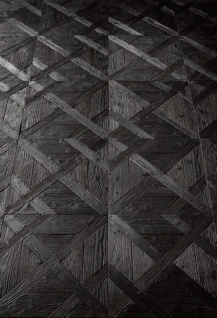 Recycled black parquet flooring by Henry Krokatsis [art project]
