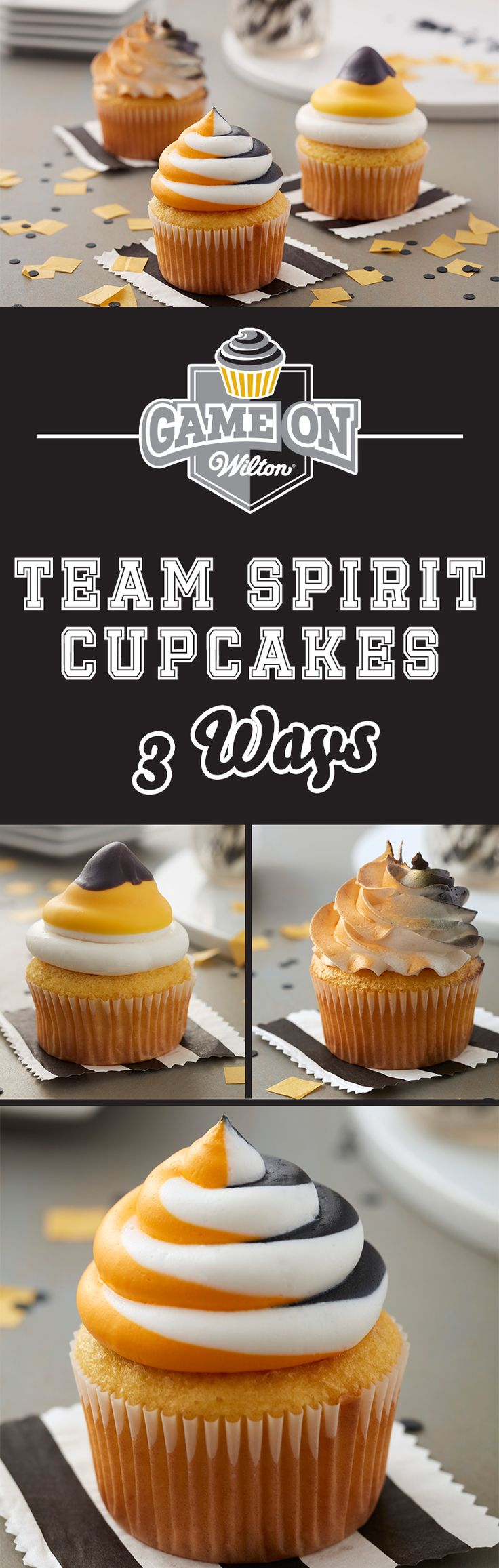 3 Ways to Make Team Spirit Cupcakes - Show off your team spirit with these Team Spirit Cupcakes. Great for homecoming celebrations, tailgating parties and big sporting events, these tasty cupcakes are a fun way to show off your team pride! Customize your cupcakes as needed by using the Color Right Performance Color System to create your own team colors!