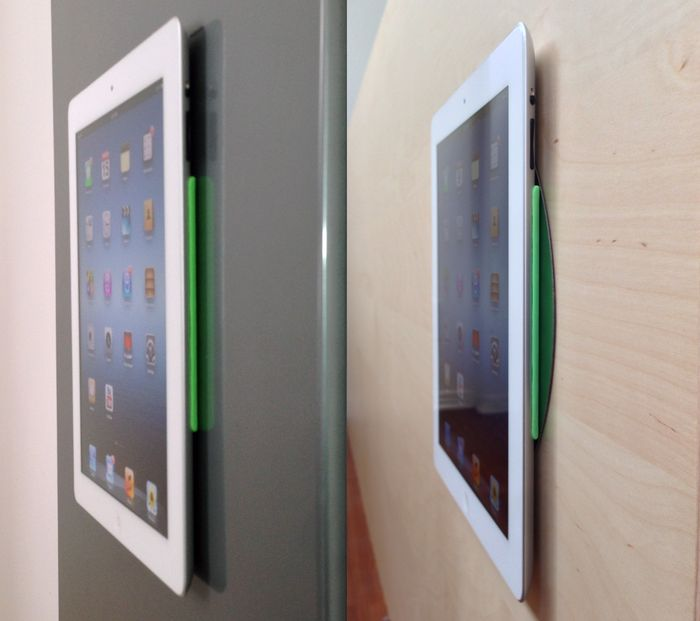 MagBak, The World's Thinnest iPad Mount by Alex Baca + 1Lss Inc. — Kickstarter.  It mounts to walls. Snaps SmartCover to the back. Provides the perfect grip. Protects your iPad.