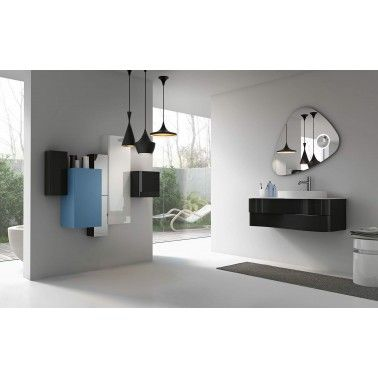 Washbasin base unit with 2 asymmetric drawers in Black color. Upper drawer high gloss lacquered, Lower drawer matt lacquered and Top with upper mounted washbasin in white matt color.